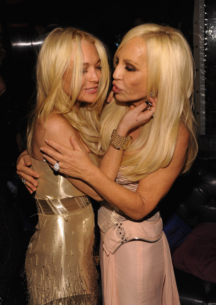 Lindsay Lohan and designer Donatella Versace attend 2009 Whitney Museum Gala Studio Party at The Whitney Museum of American Art on October 19, 2009 in New York City.
